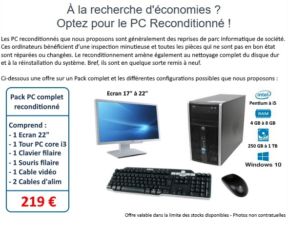 PACK PC RECONDITIONNE